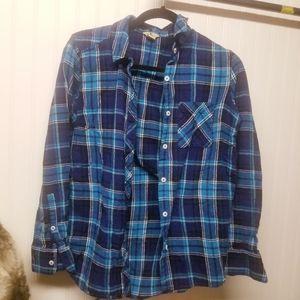 Woolrich Light Blue Plaid Flannel Button Up Shirt